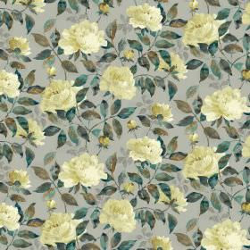 Peony Cotton Satin - Marigold - Pale grey fabric covered in light yellow coloured flowers and leaves blended in different shades of dark gre