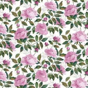 Peony Cotton Satin - Fuchsia - Pink flowers printed with shaded green leaves on a white fabric background