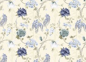 Bamboo - Lemon - Cream coloured fabric printed with a large, repeated floral design in several different shades of blue