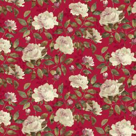 Peony Dual Linen - Ruby - Raspberry coloured fabric as a background for shaded dark green leaves and cream flowers with a hint of pink