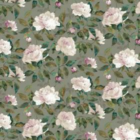 Peony Dual Linen - Taupe - Floral print fabric in dark grey, with dark green marbled leaves and a repeated pattern of very light pink flower