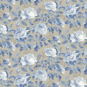 Peony Viscose Linen - Ink - Fabric in light grey, as a background for a repeated floral pattern coloured in different shades of blue