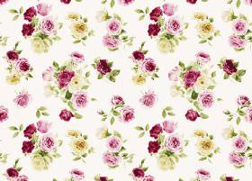 Summer Bloom - Ivory - White fabric with bunches of very realistic flowers and leaves in green, pink, cream-yellow and dark purple
