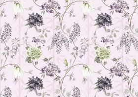Bamboo - Candy Floss - Dark purple coloured flowers,with the occasional green flower printed as a large repeated pattern on light purple fab
