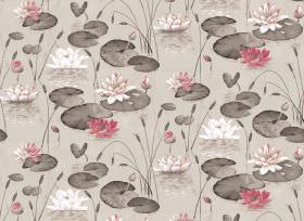 Waterlily - Natural - Waterlily print fabric with pink flowers and the rest printed in different shades of grey and beige