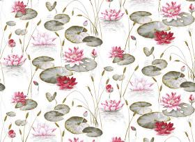 Waterlily - Red - Fabric made with a waterlily print on a white background, with green-grey, red and pink for the design