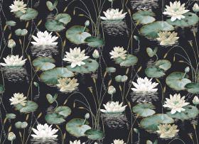 Waterlily - Ebony - Cream coloured waterlilies with reeds and green lily pads on a black fabric background