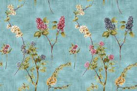Chelsea - Turquoise - Green leaves with flowers in dark shades of pink, blue and yellow, on a turquoise coloured fabric background