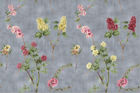 Chelsea - Charcoal - Dark red, pink and yellow flowers printed randomly with deep green leaves onto dark grey coloured fabric
