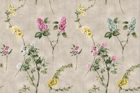 Chelsea - Taupe - Fabric in a patchy beige colour, printed with pink, blue-grey and yellow flowers, and leaves in a dark shade of green