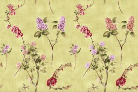 Chelsea - Lemon - Light yellow fabric with a hint of green, with sparse but repeated florals in shades of red, pink and green