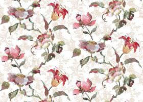 Lotus - Cream - Flowers and leaves in shades of pink and green, printed on fabric which already has a subtle pattern in grey and white
