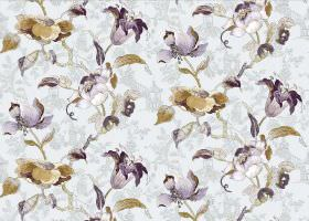 Lotus - Aqua - Purple and gold-brown flowers printed on a white and light grey subtly patterned fabric