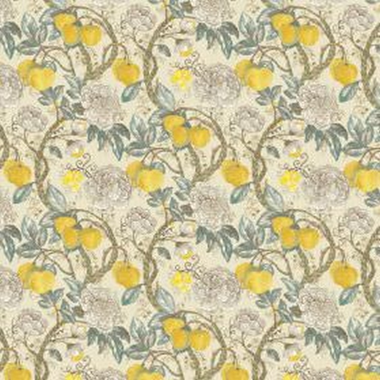 Morris - Lemon - Linen and viscose fabric portraying elegant lemon design