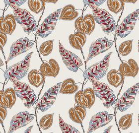 Mulberry - Red - Red leaf pattern on white linen and viscose fabric