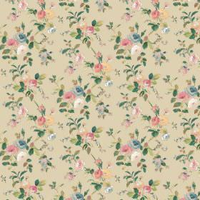 Raphael - Beige - Pastel pink and blue coloured flowers printed with darker green leaves on beige fabric
