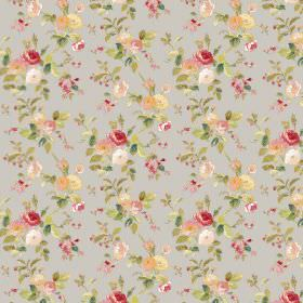 Raphael - Grey - Plain grey fabric with a repeated pattern of small yellow, red and white flowers with green leaves