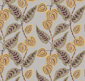 Mulberry - Plum - Gray viscose and linen fabric with an interesting floral design