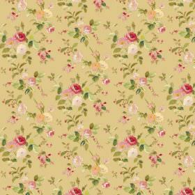 Raphael - Gold - Gold-yellow, red, pink, white and green coloured floral print fabric