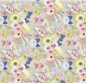Dolce - Pastel - Gray linen and viscose fabric with flowers in pastel colors