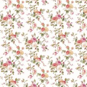Raphael - White - Pinks and greens making up the small floral print for this fabric in white