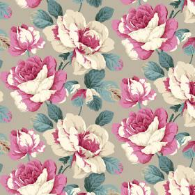 Monroe - Taupe - Fabric in light grey, printed with blue leaves and pink and cream coloured flowers