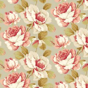 Monroe - Apricot - Off-white and dusky pink shaded roses with light green leaves on a pale green-grey coloured fabric background