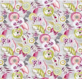 Dolce - Cerise - Colorful green and pink design on linen and viscose fabric