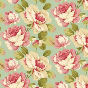Monroe - Duck Egg - Floral print fabric in light green, with large flowers shaded in cream and pink, with shaded green leaves