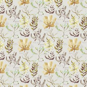 Oddysey - Natural - Brown and yellow leaf design on gray linen and viscose fabric