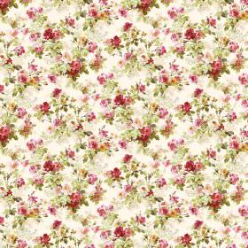 Chatelaine - Starwberry - Small florals patterning white fabric in green, red, pink and golden yellow colours