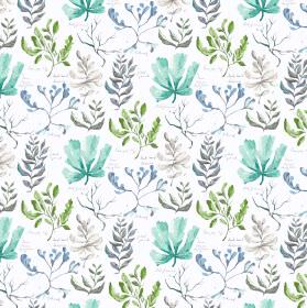Oddysey - Aqua - White linen and viscose fabric decorated with flowers in different shades of blue