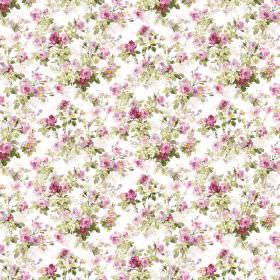 Chatelaine - Ivory - Small pink and purple florals printed with light green leaves on fabric in a plain white colour