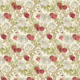 Morris - Strawberry - Fabric made from linen and viscose with strawberry motif