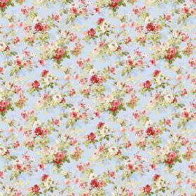 Chatelaine - Pale Blue - Light blue fabric featuring a small red, pink, cream and green floral print pattern