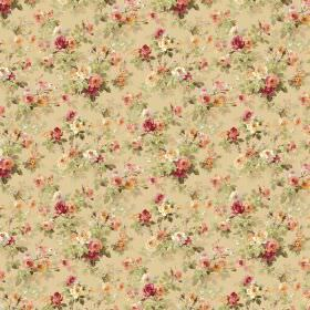 Chatelaine - Antique - A small, repeated floral pattern in a vintage style on fabric in beige, cream, pink, red and green shades