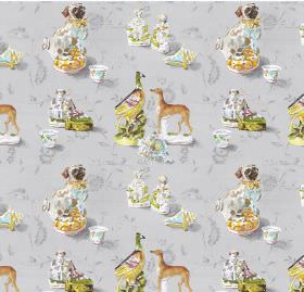 Staffordshire - Silver - Silver linen and viscose fabric featuring dogs and ducks
