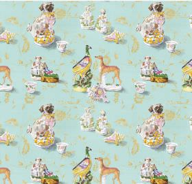 Staffordshire - Duckegg - Design inspired by dogs on blue linen and viscose fabric