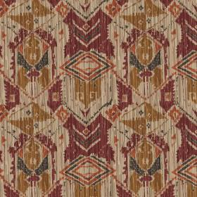Ikat - Chesnut - Fabric featuring an abstract, tribal style geometric design in dark red, beige, gold, terracotta and dark grey colours