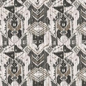 Ikat - Mono - Different shades of black, grey and white making up an abstract, tribal style geometric design printed on fabric