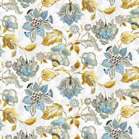 Emporium - White - Elegant blue flowers and gold leaves on white linen and viscose fabric