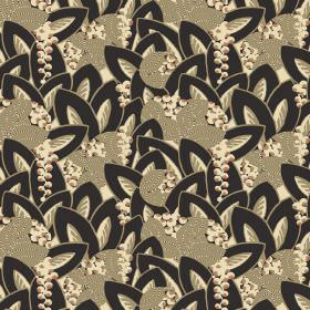 Hepburn - Ebony - Overlapping, assorted leaf shapes inblack, cream and cream-grey with some berry-like circles in a matching cream colour
