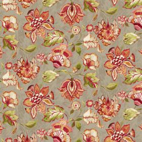 Emporium - Beige - Beige linen and viscose fabric featuring red floral design