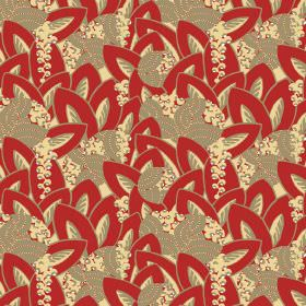 Hepburn - Red - Cream-gold, red and cream-grey leaves overlapping in assorted directions, with berry-like cicles, printed on fabric