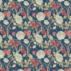 Morris - Navy - Decorative strawberry design on navy blue linen and viscose fabric