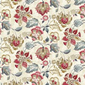 Emporium - Cream - Red and blue floral pattern on linen and viscose fabric in cream