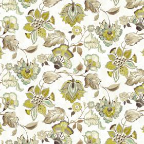 Emporium - Natural - Green and brown floral design on white linen and viscose fabric