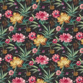 Kew Gardens - Ebony - Black cotton fabric decorated with elegant gold and pink floral design