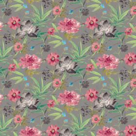 Kew Gardens - Charcoal - Gray cotton fabric featuring green, pink and charcoal flowers