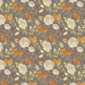 Morris - Taupe - Taupe linen and viscose fabric with white flowers and oranges